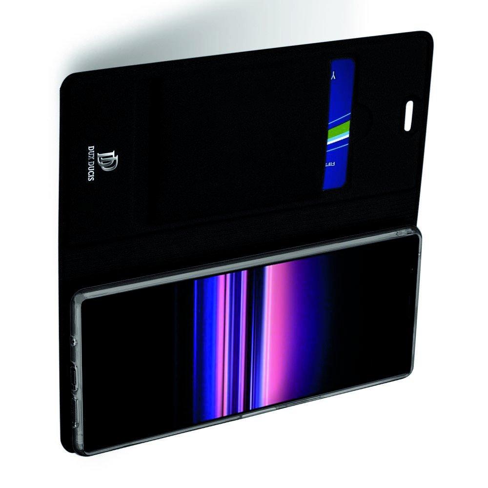 Dux Ducis чехол книжка для Sony Xperia 5 с магнитом и отделением для карты - Черный