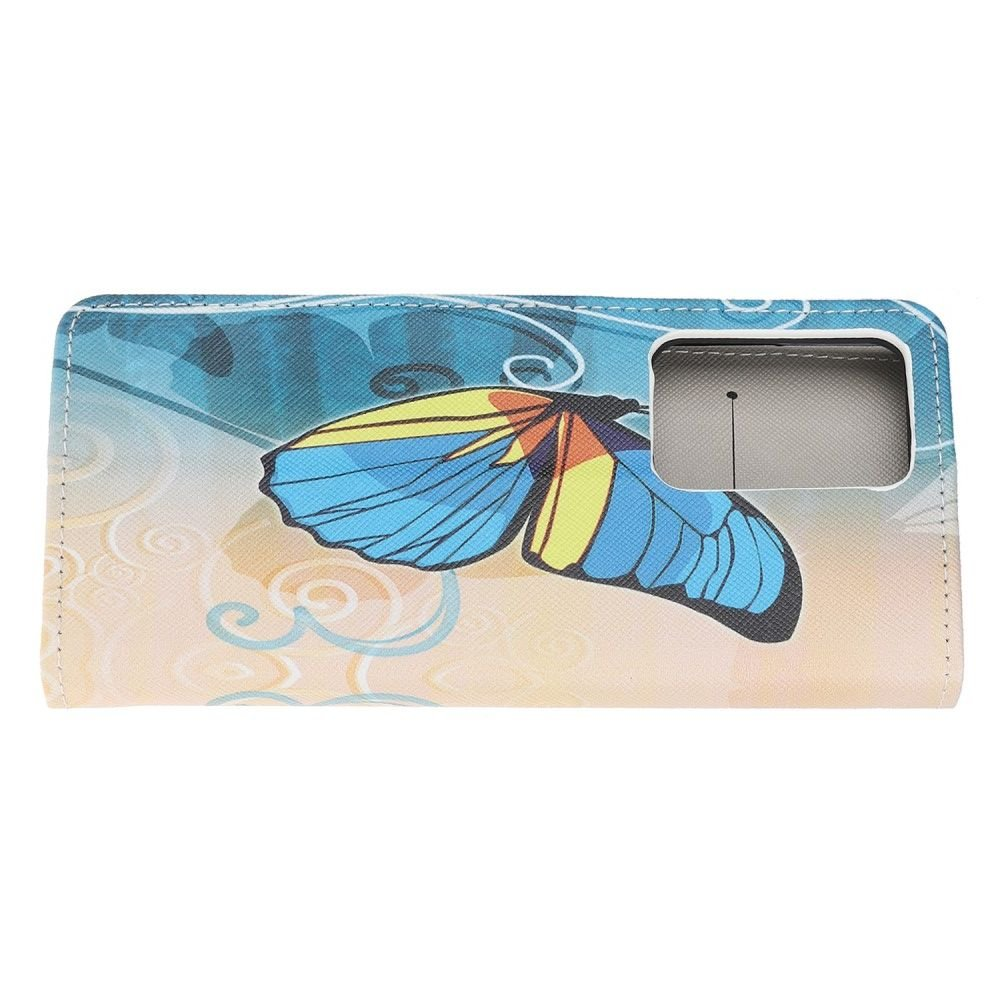 Флип чехол книжка для Samsung Galaxy S20 Ultra с рисунком голубая бабочка
