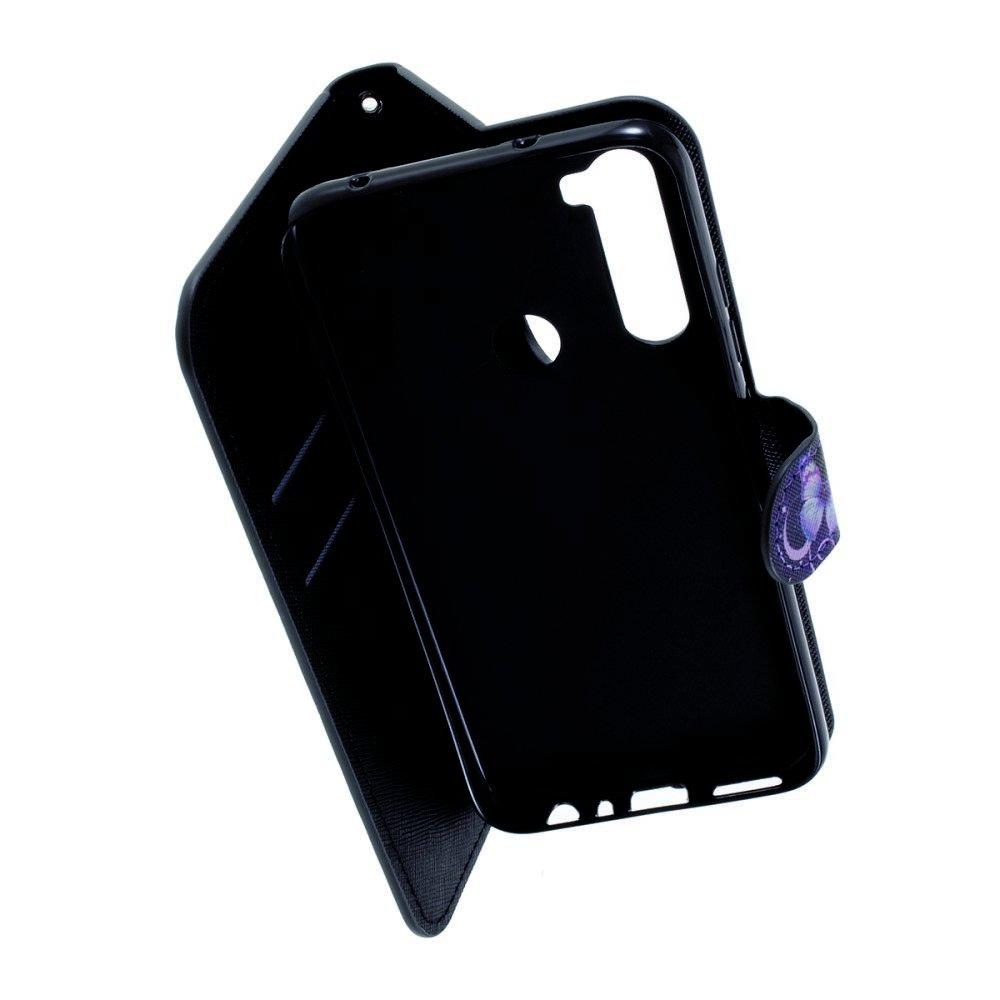 Флип чехол книжка для Xiaomi Redmi Note 8 с рисунком фиолетовый