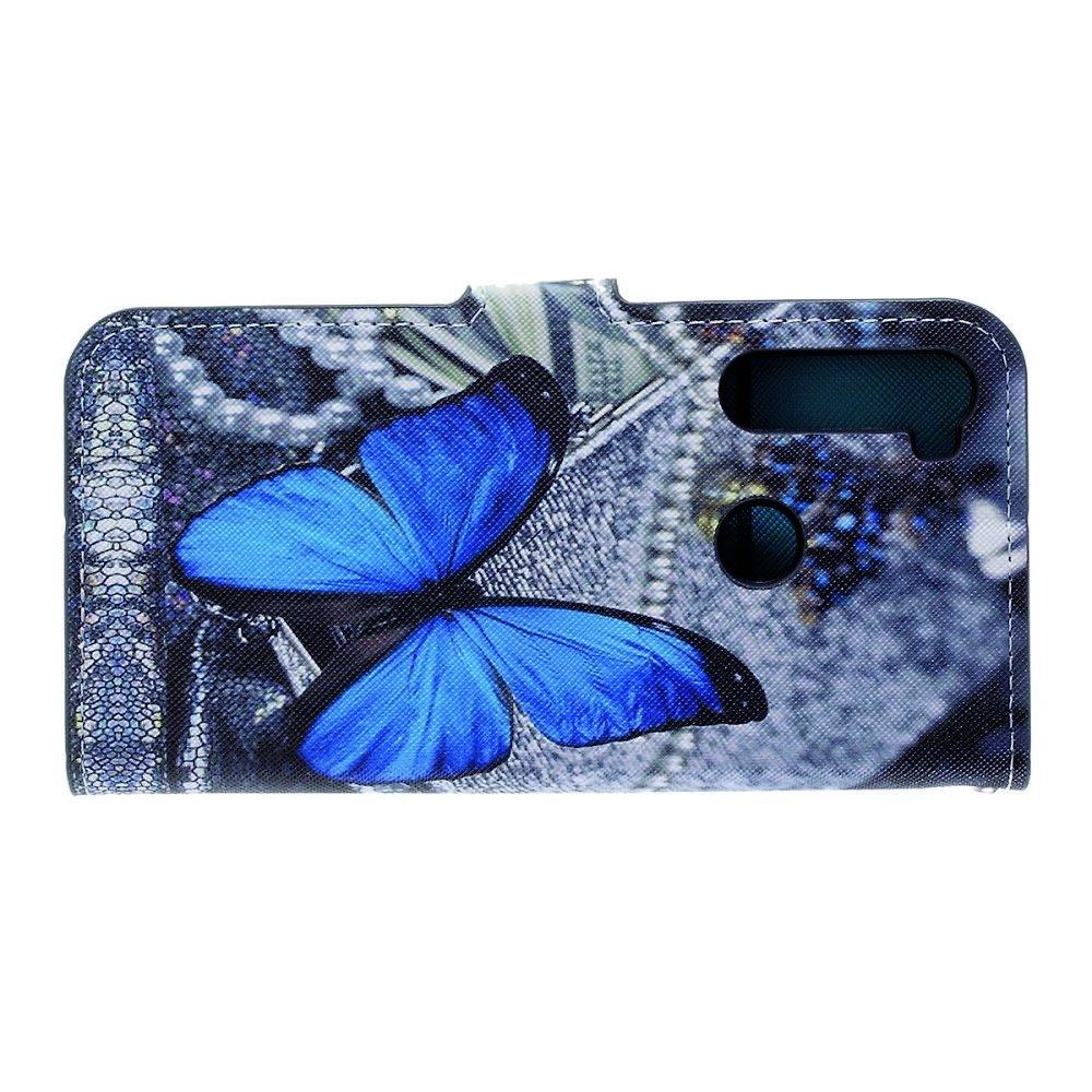 Флип чехол книжка для Xiaomi Redmi Note 8 с рисунком голубая бабочка