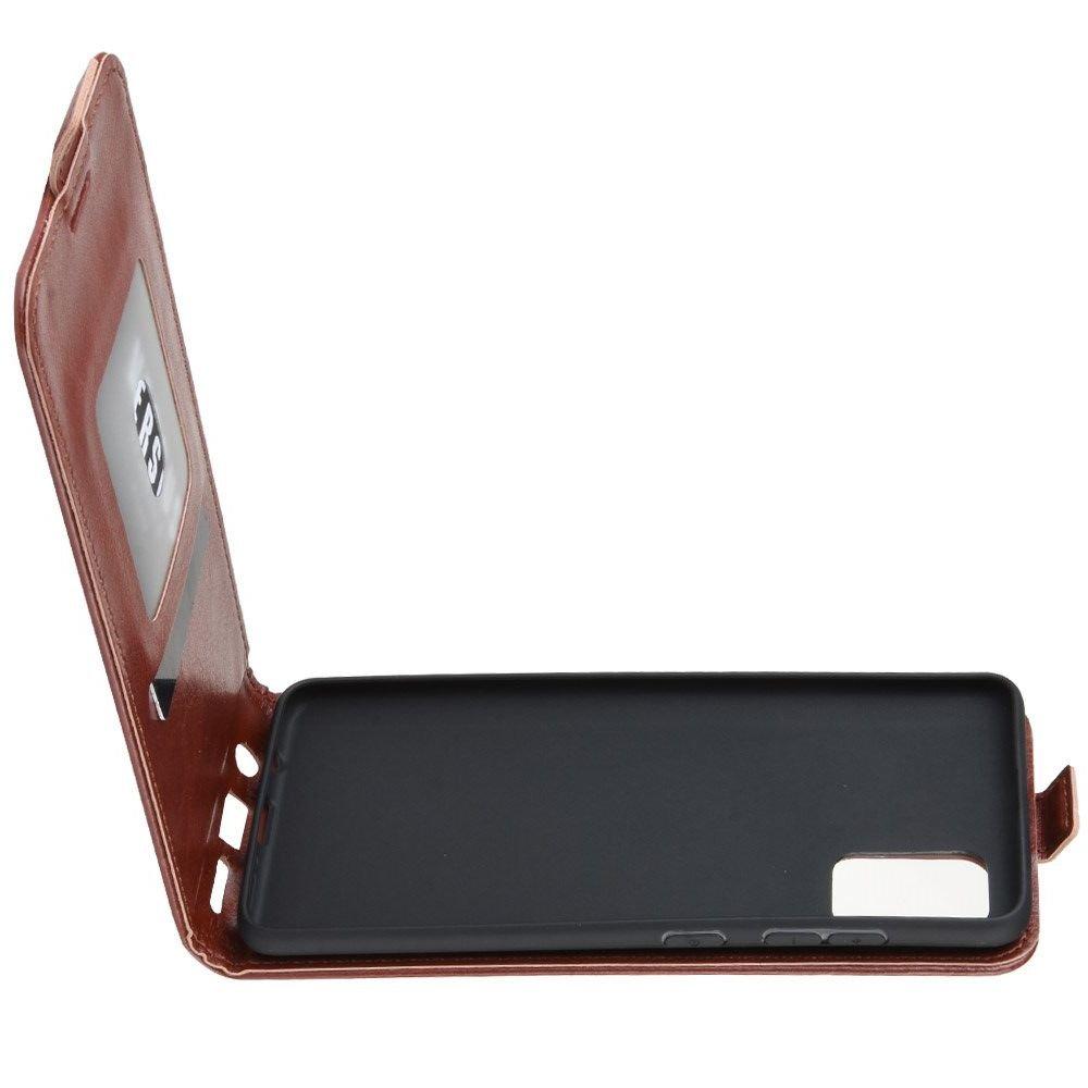 Флип чехол книжка вертикальная для Samsung Galaxy A71 - Коричневый