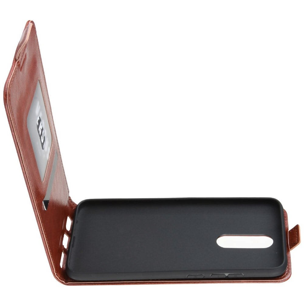 Флип чехол книжка вертикальная для Xiaomi Redmi 8 - Коричневый