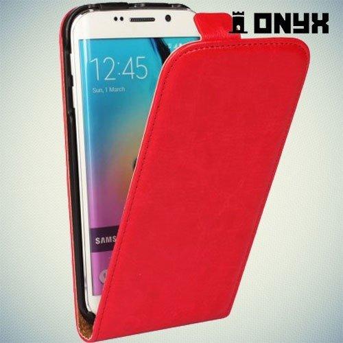 Флип чехол книжка для Samsung Galaxy S6 Edge - красный