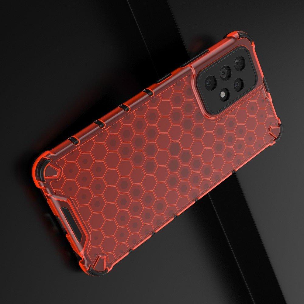 Honeycomb противоударный матовый чехол для Samsung Galaxy A52 - Красный
