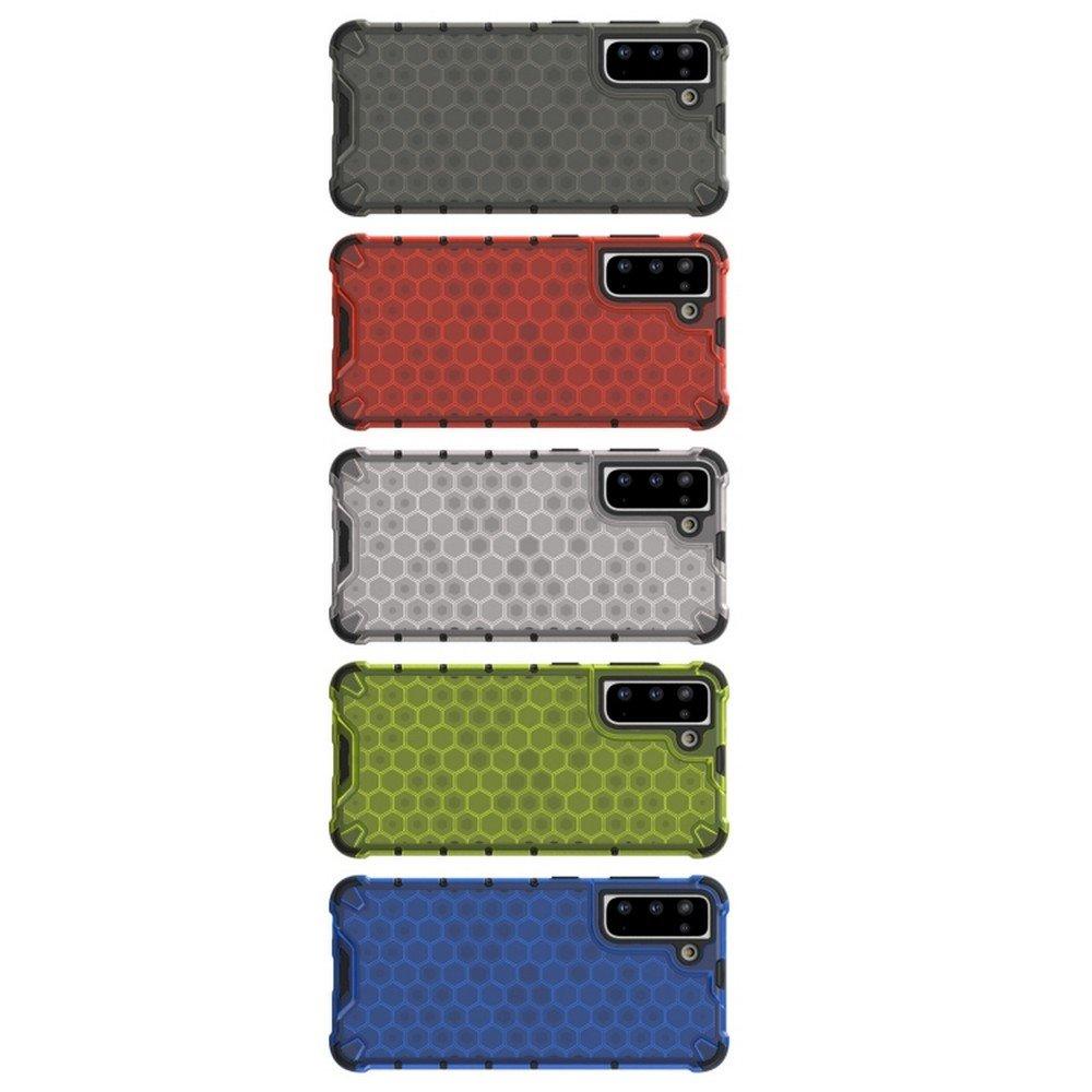 Honeycomb противоударный матовый чехол для Samsung Galaxy S21 - Черный