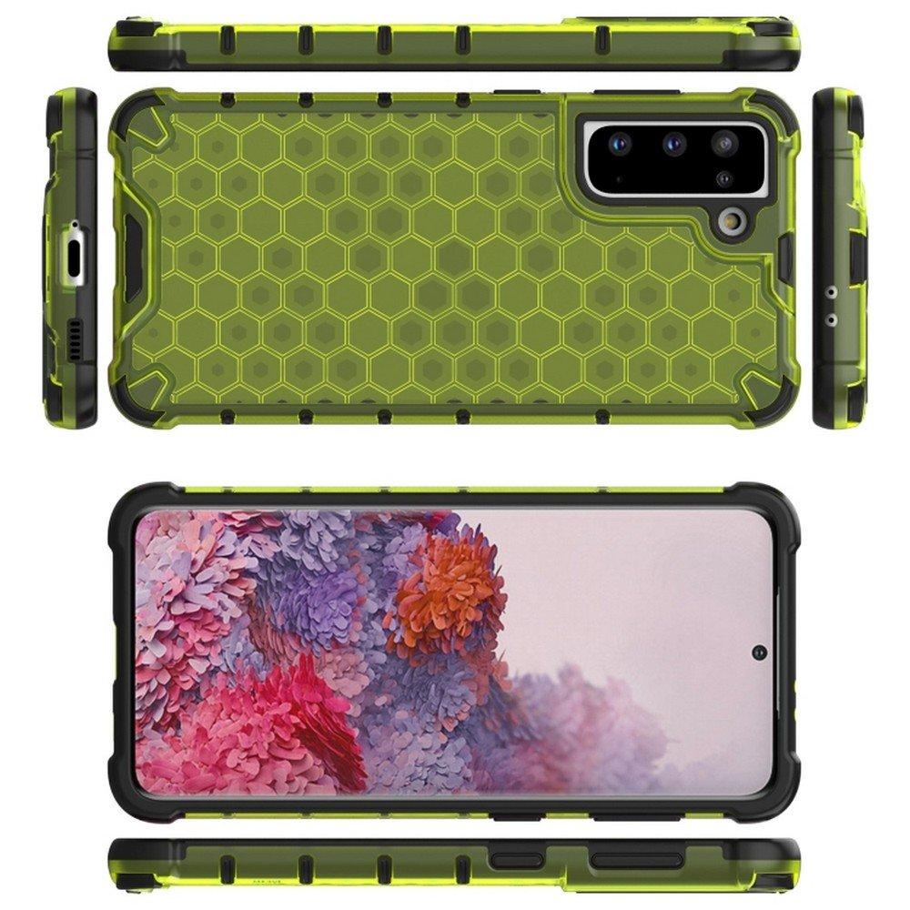 Honeycomb противоударный матовый чехол для Samsung Galaxy S21 - Желтый