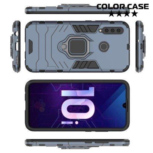 Hybrid Armor Ring Противоударный защитный двухслойный чехол с кольцом под палец подставкой держателем для Huawei Honor 10i Серый
