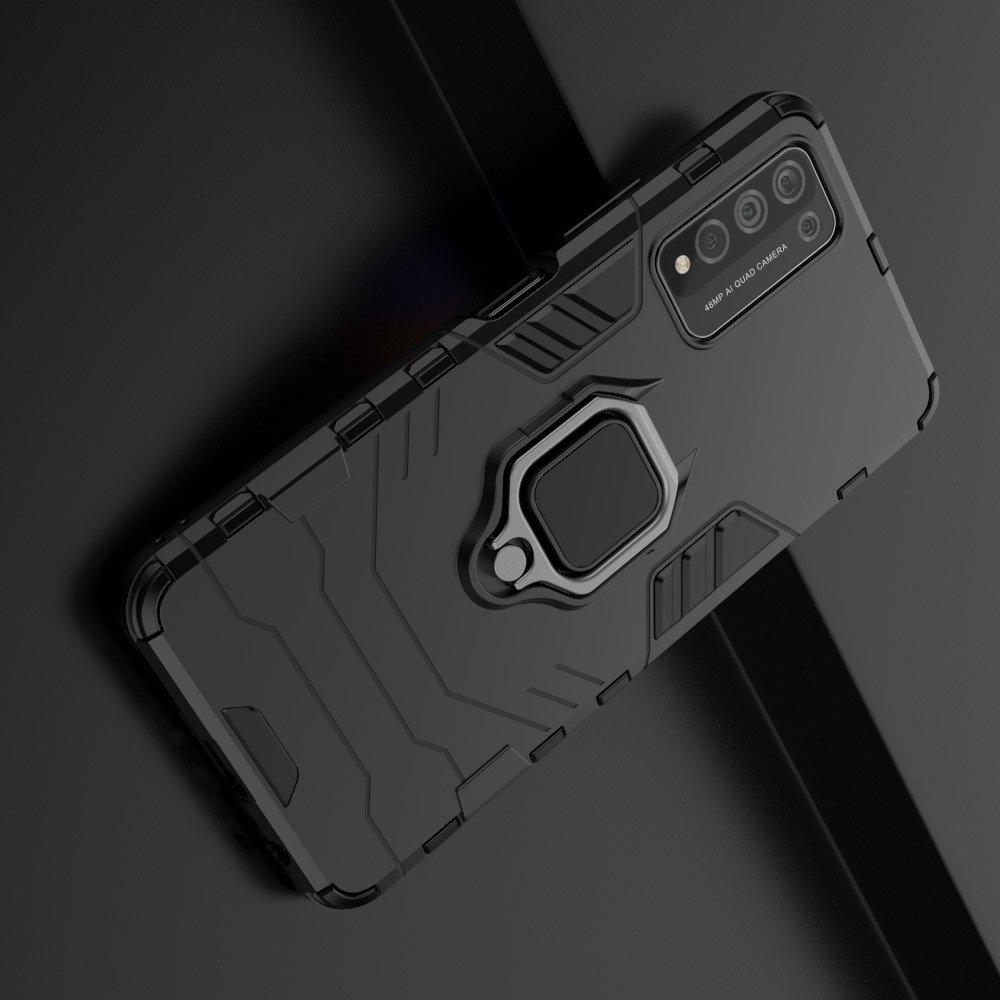 Hybrid Armor Ring Противоударный защитный двухслойный чехол с кольцом под палец подставкой держателем для Huawei Honor 10X Lite Черный