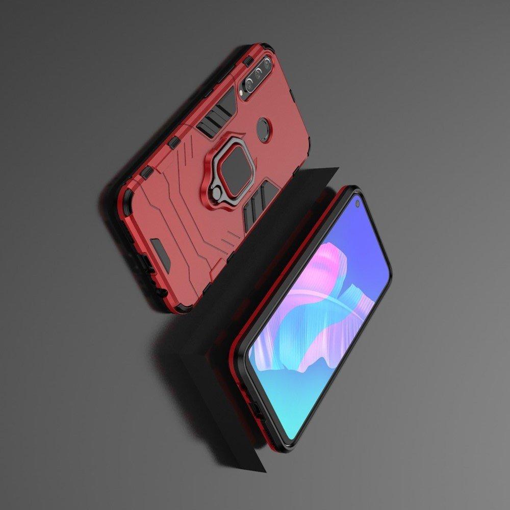 Hybrid Armor Ring Противоударный защитный двухслойный чехол с кольцом под палец подставкой держателем для Huawei P40 lite E Красный