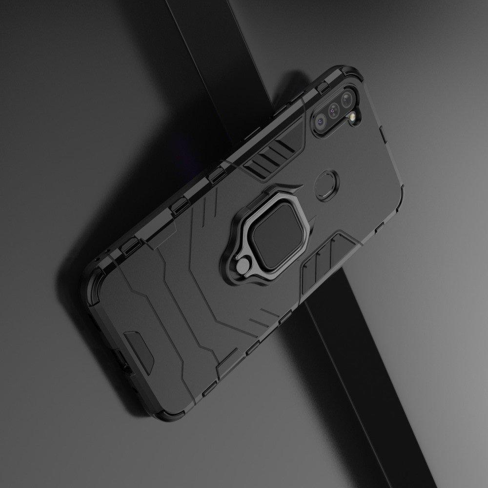 Hybrid Armor Ring Противоударный защитный двухслойный чехол с кольцом под палец подставкой держателем для Samsung Galaxy A11 Черный