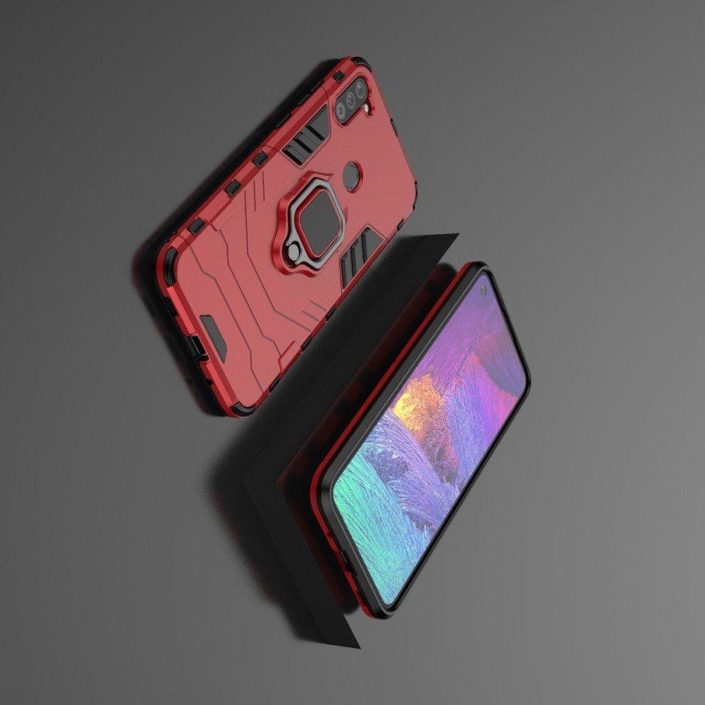 Hybrid Armor Ring Противоударный защитный двухслойный чехол с кольцом под палец подставкой держателем для Samsung Galaxy A11 Красный