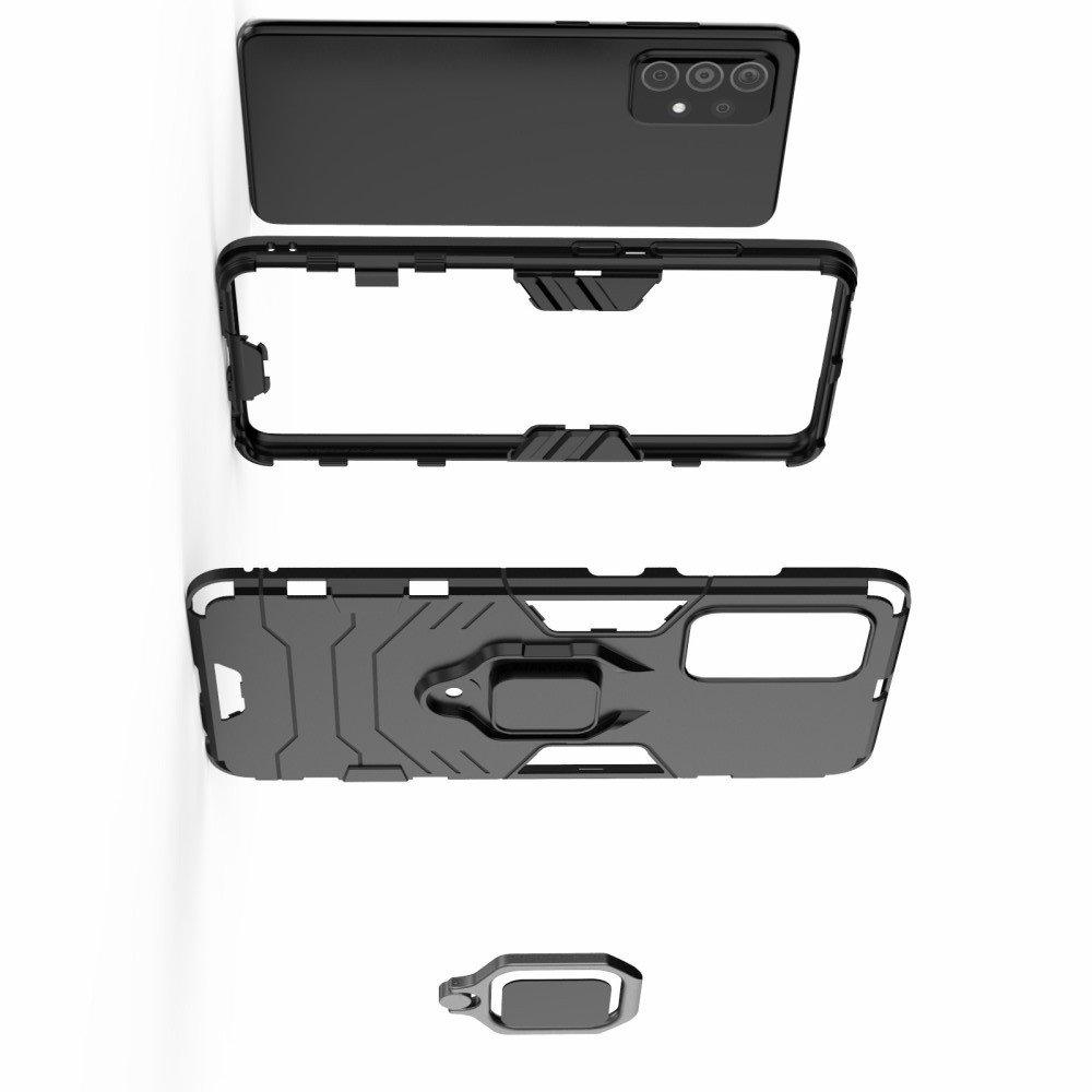 Hybrid Armor Ring Противоударный защитный двухслойный чехол с кольцом под палец подставкой держателем для Samsung Galaxy A52 Черный
