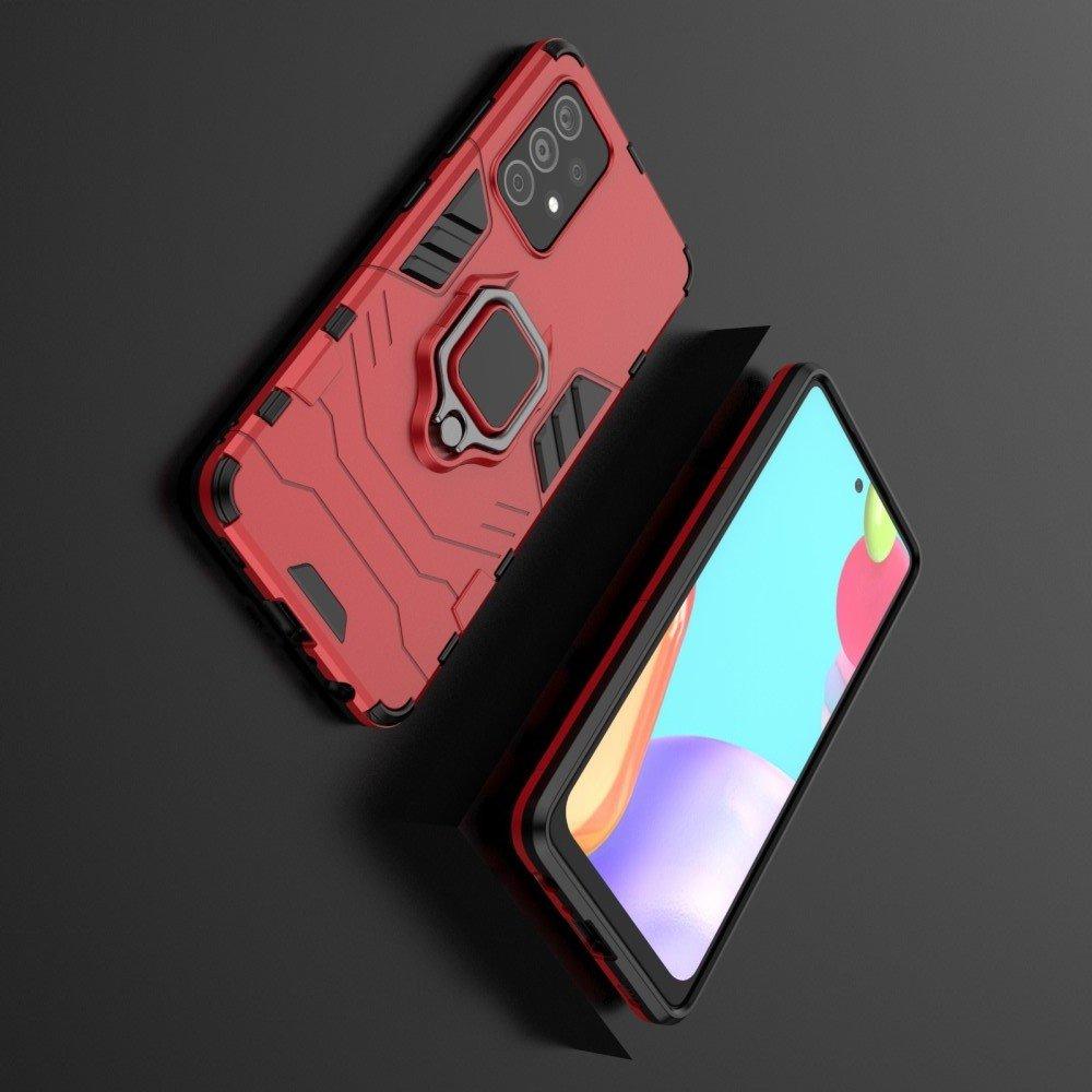 Hybrid Armor Ring Противоударный защитный двухслойный чехол с кольцом под палец подставкой держателем для Samsung Galaxy A52 Красный