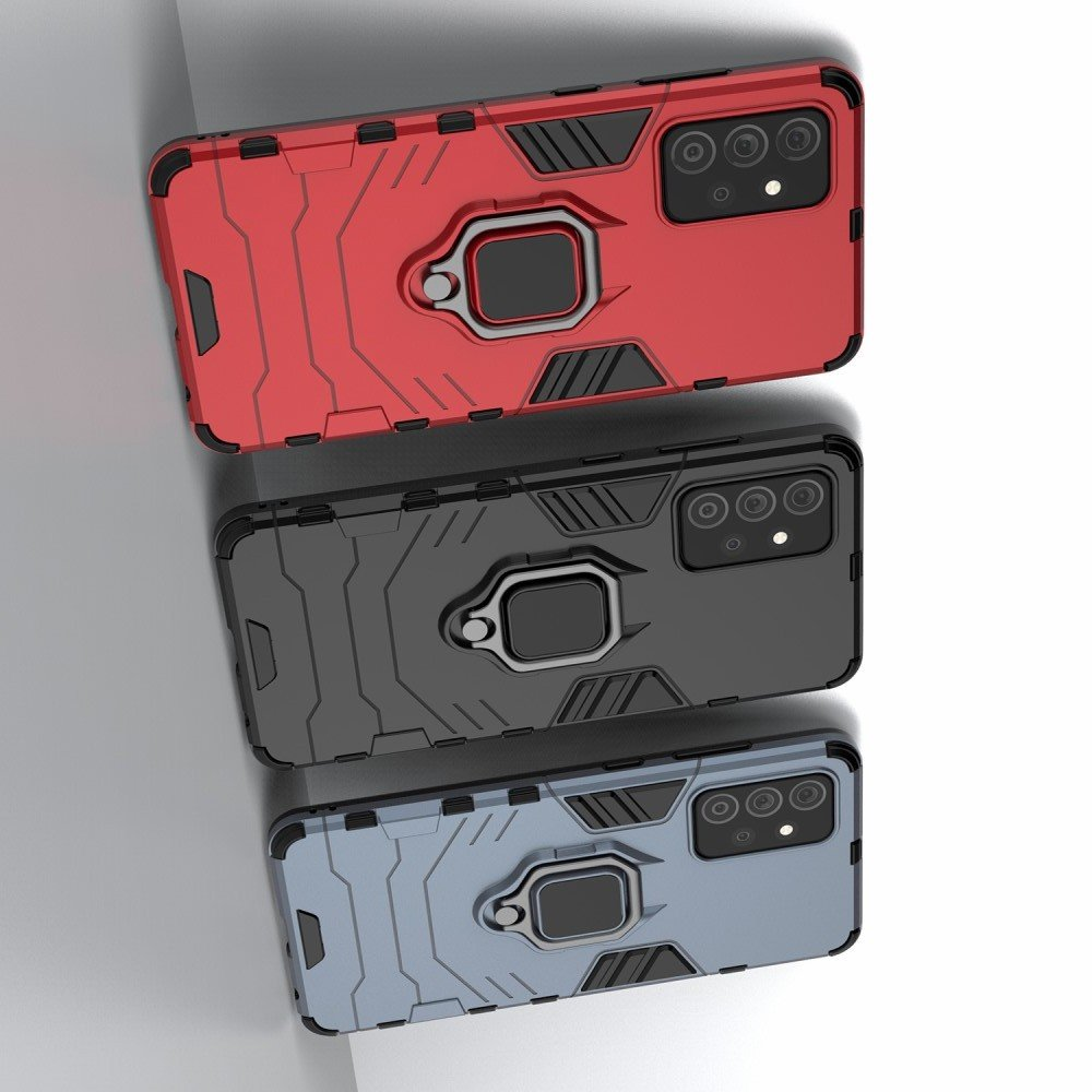 Hybrid Armor Ring Противоударный защитный двухслойный чехол с кольцом под палец подставкой держателем для Samsung Galaxy A72 Черный