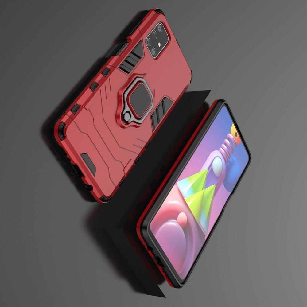 Hybrid Armor Ring Противоударный защитный двухслойный чехол с кольцом под палец подставкой держателем для Samsung Galaxy M51 Красный