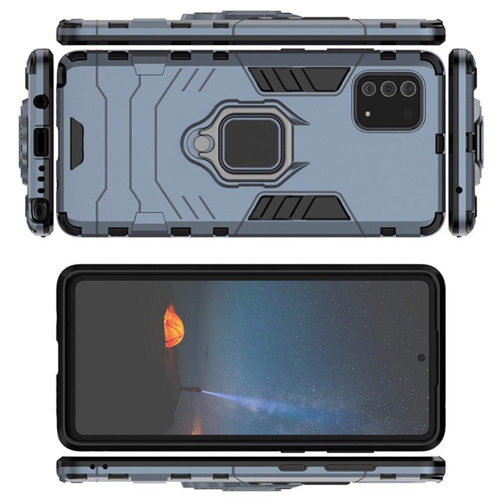 Hybrid Armor Ring Противоударный защитный двухслойный чехол с кольцом под палец подставкой держателем для Samsung Galaxy Note 10 Lite Синий