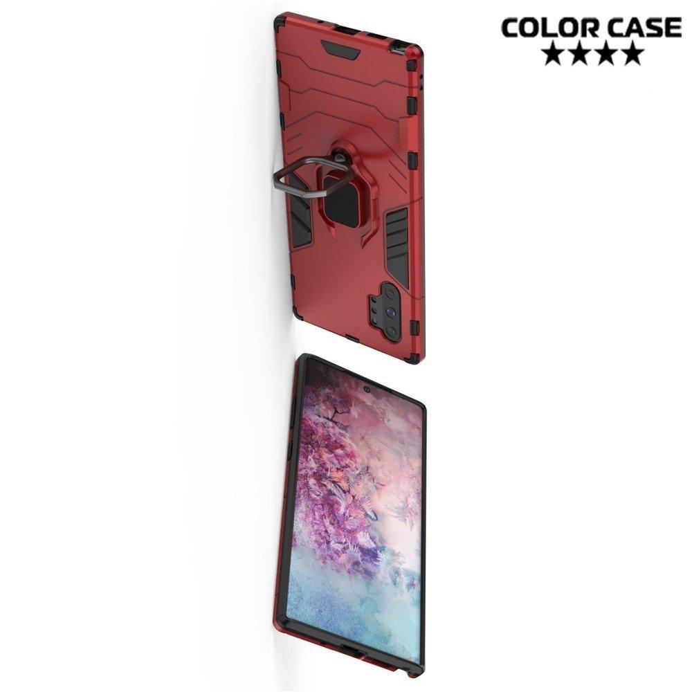 Hybrid Armor Ring Противоударный защитный двухслойный чехол с кольцом под палец подставкой держателем для Samsung Galaxy Note 10+ Красный