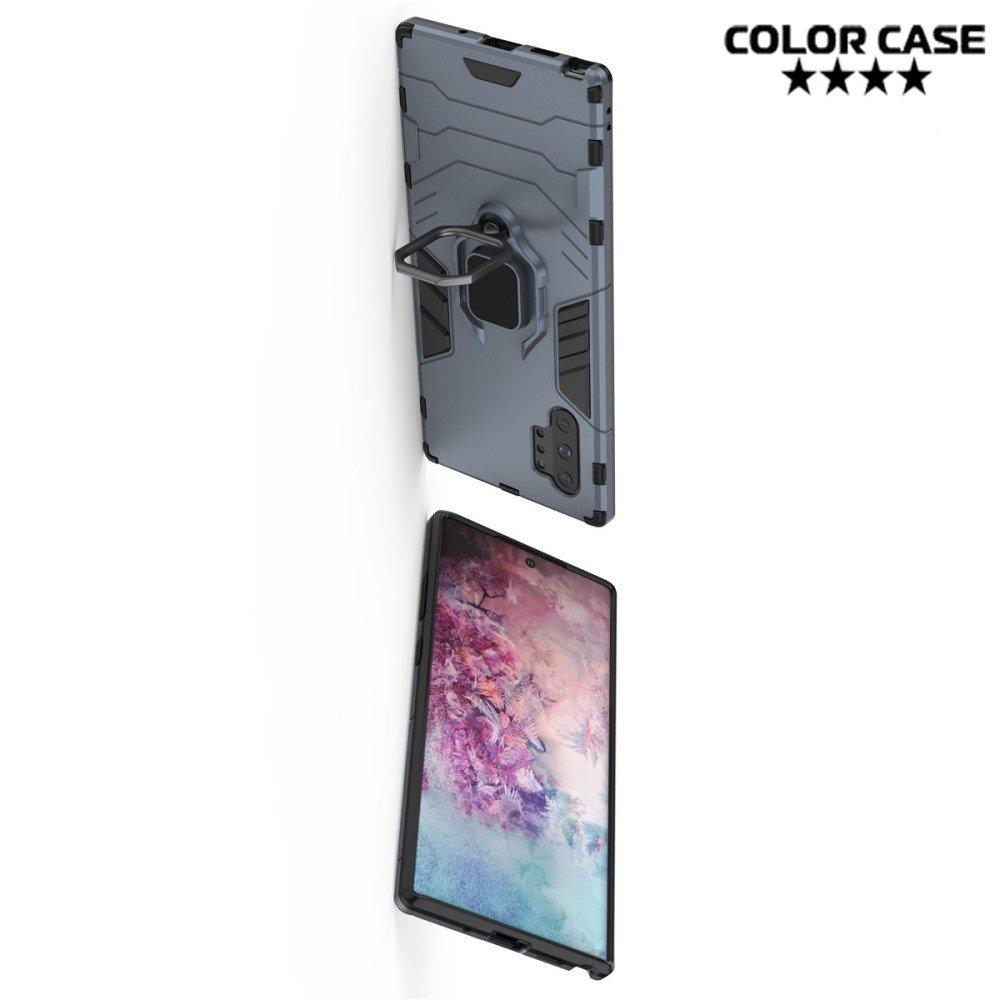 Hybrid Armor Ring Противоударный защитный двухслойный чехол с кольцом под палец подставкой держателем для Samsung Galaxy Note 10+ Серый