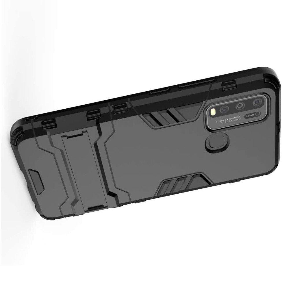 Hybrid Armor Ring Противоударный защитный двухслойный чехол с кольцом под палец подставкой держателем для Vivo Y50 / Y30 Черный