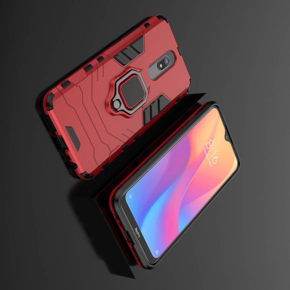 Hybrid Armor Ring Противоударный защитный двухслойный чехол с кольцом под палец подставкой держателем для Xiaomi Redmi 8A Красный