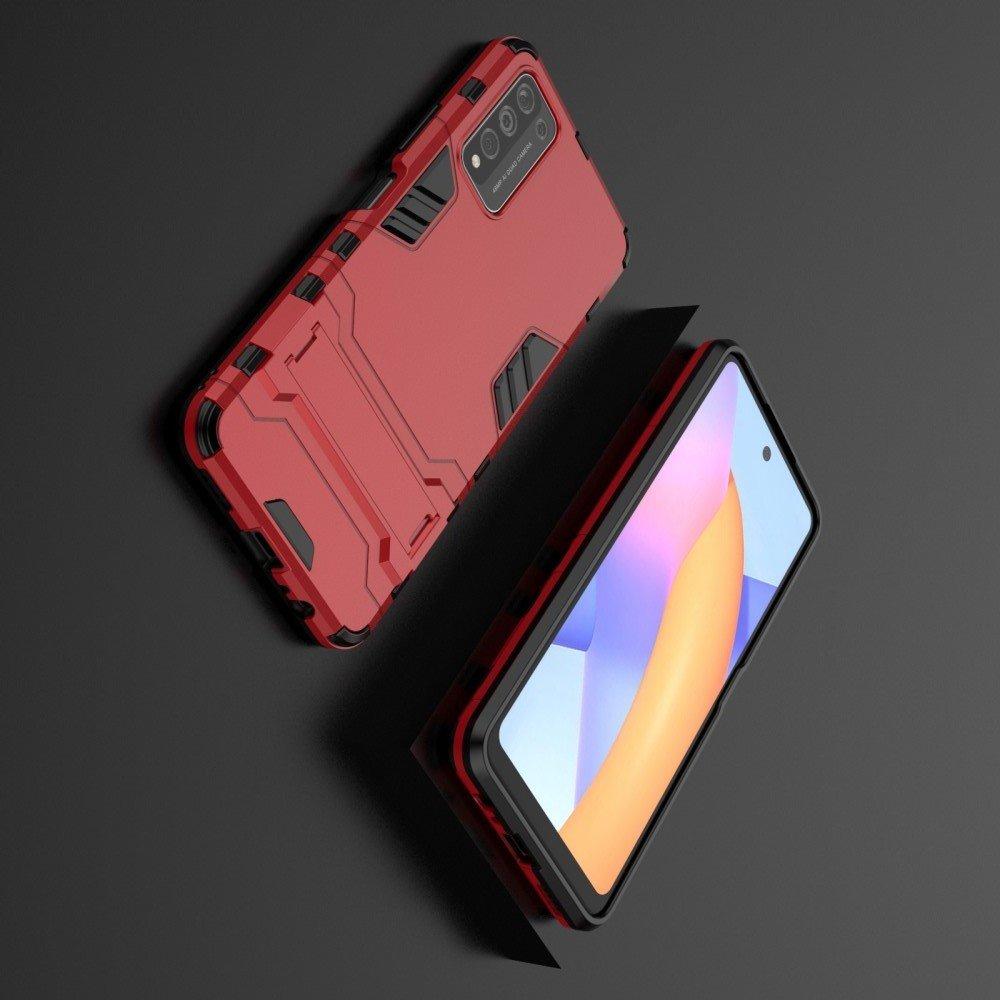 Hybrid Armor Ударопрочный чехол для Huawei Honor 10X Lite с подставкой - Красный