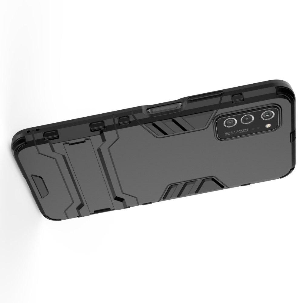 Hybrid Armor Ударопрочный чехол для Huawei Honor View 30 / View 30 Pro с подставкой - Черный