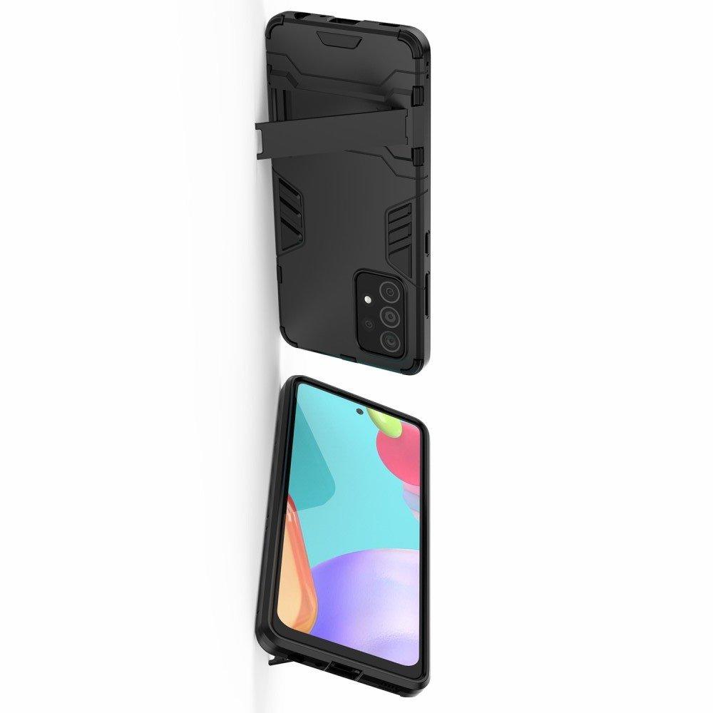 Hybrid Armor Ударопрочный чехол для Samsung Galaxy A52 с подставкой - Черный