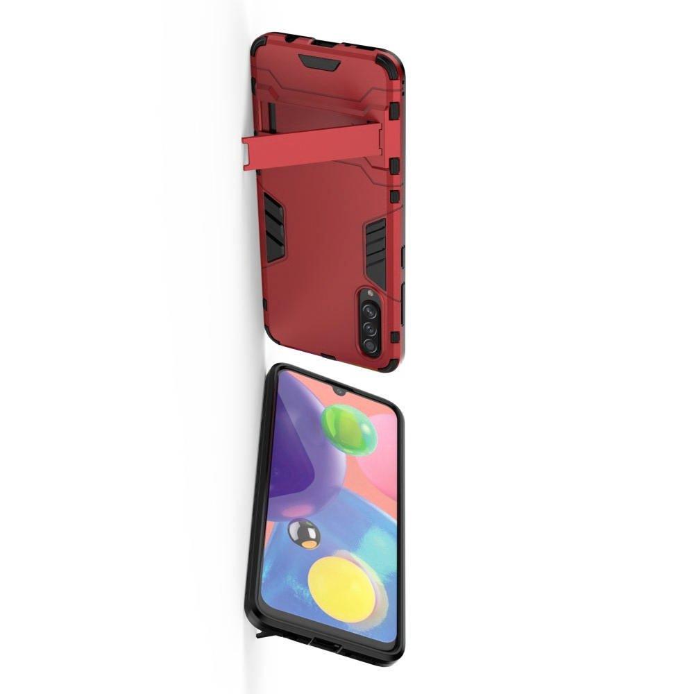 Hybrid Armor Ударопрочный чехол для Samsung Galaxy A70s с подставкой - Красный