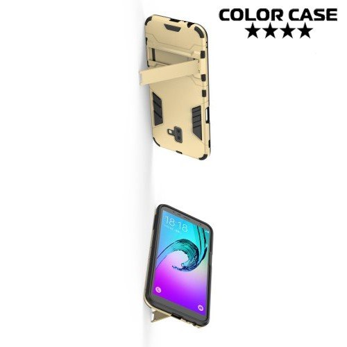 Hybrid Armor Ударопрочный чехол для Samsung Galaxy J6 Plus с подставкой - Золотой