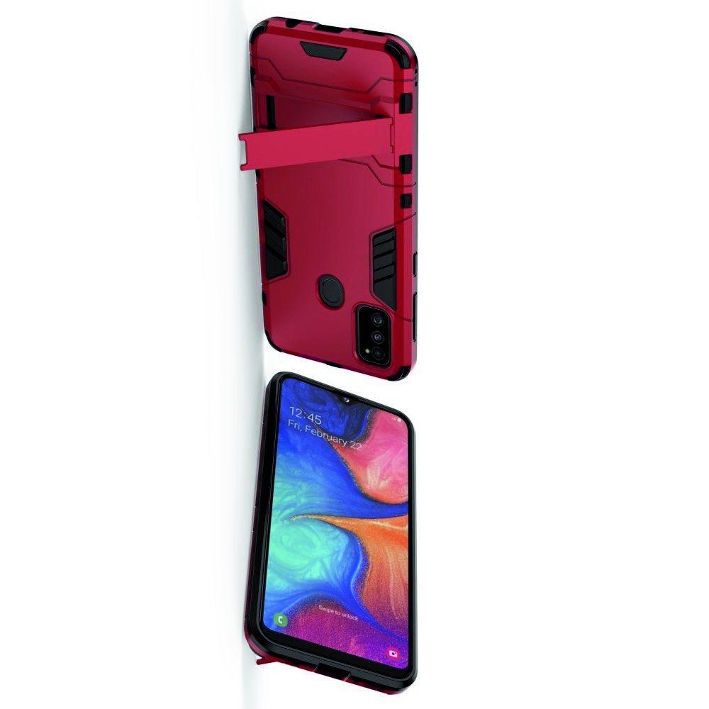 Hybrid Armor Ударопрочный чехол для Samsung Galaxy M30s с подставкой - Красный