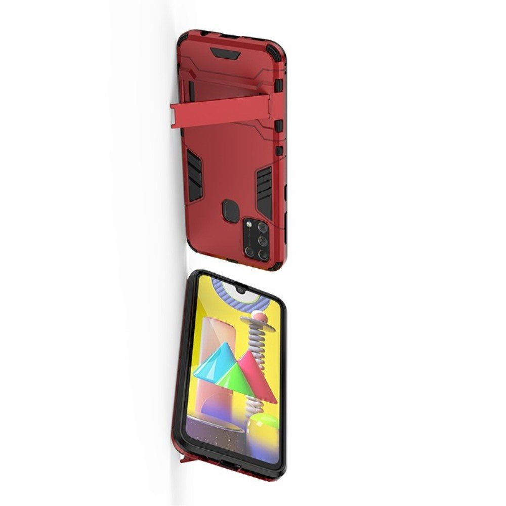Hybrid Armor Ударопрочный чехол для Samsung Galaxy M31 с подставкой - Красный
