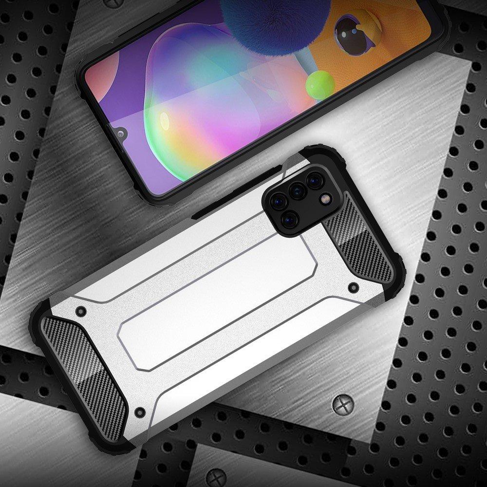 Hybrid двухкомпонентный противоударный чехол для Samsung Galaxy A31 - Серебряный