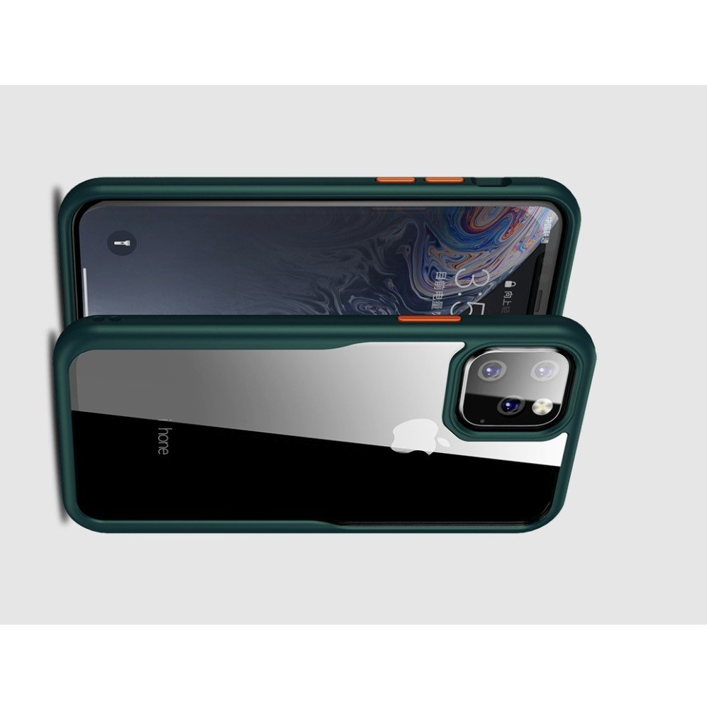 iPaky Hybrid прозрачный двухкомпонентный пластиковый чехол для iPhone 11 Pro Max - красная силиконовая рамка