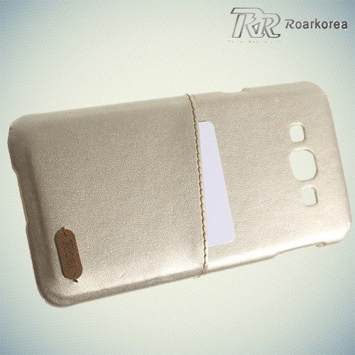 Кейс накладка с отделением для банковской карты для Samsung Galaxy A8 - золотой
