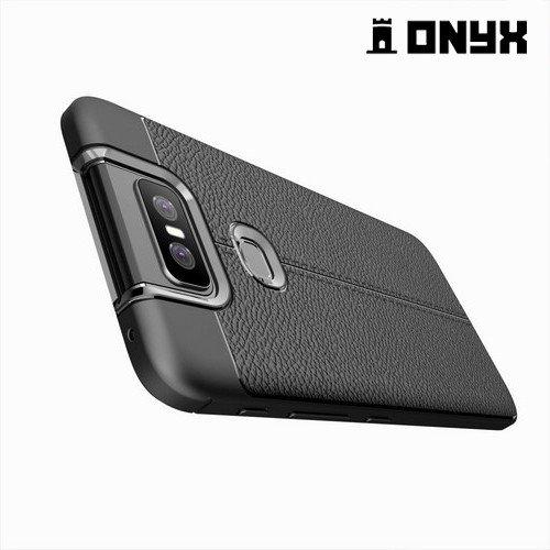Leather Litchi силиконовый чехол накладка для Asus Zenfone 6 ZS630KL - Черный