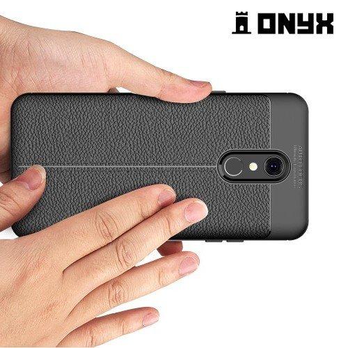 Leather Litchi силиконовый чехол накладка для LG Q Stylus+ Q710 - Черный