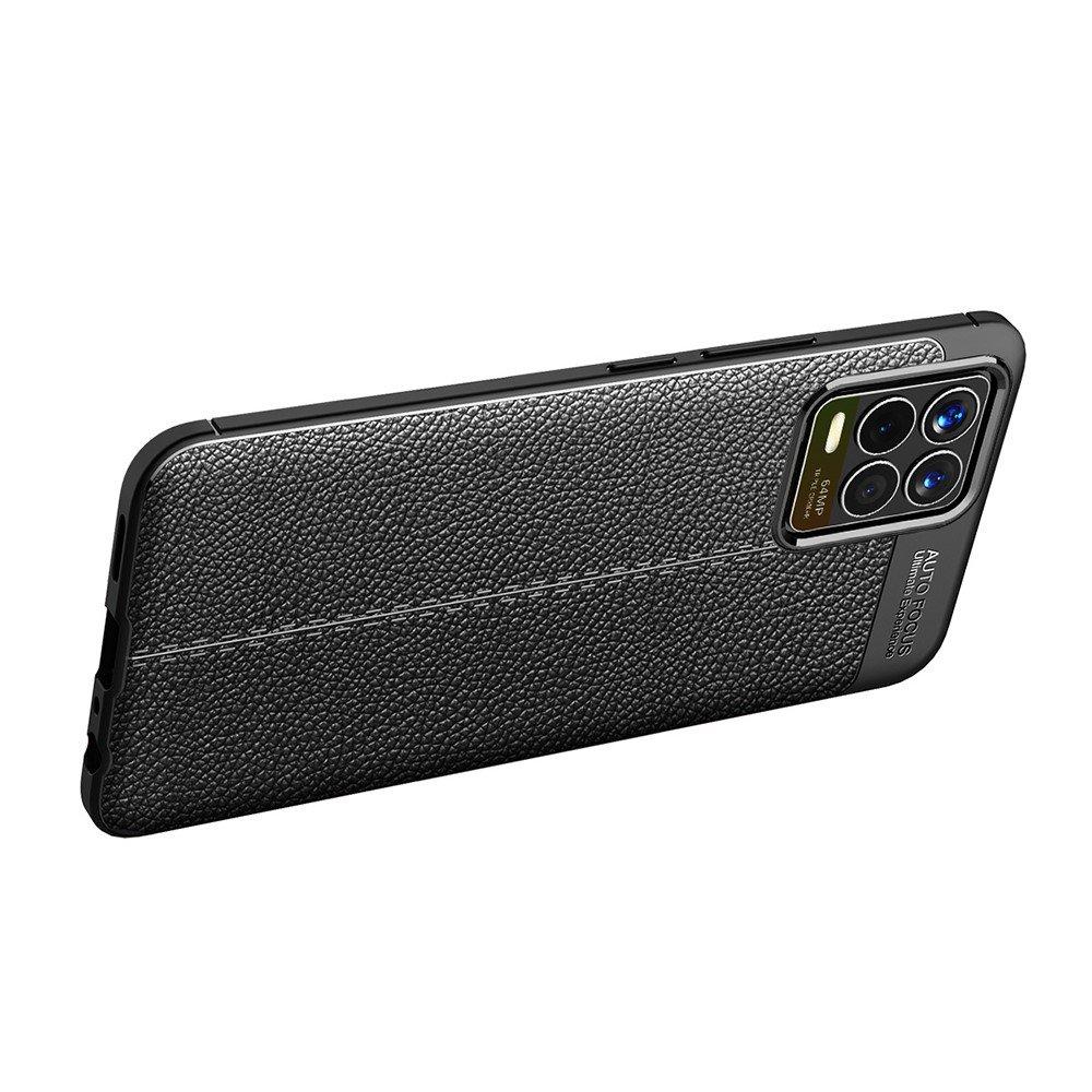 Leather Litchi силиконовый чехол накладка для Realme 8 / 8 Pro - Черный