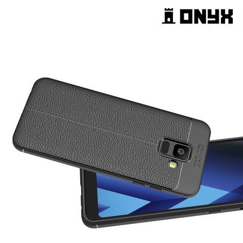 Leather Litchi силиконовый чехол накладка для Samsung Galaxy A6 2018 - Черный