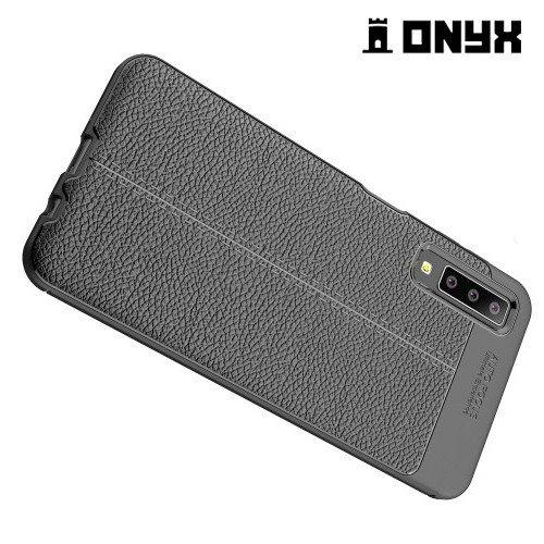 Leather Litchi силиконовый чехол накладка для Samsung Galaxy A7 2018 SM-A750F - Черный
