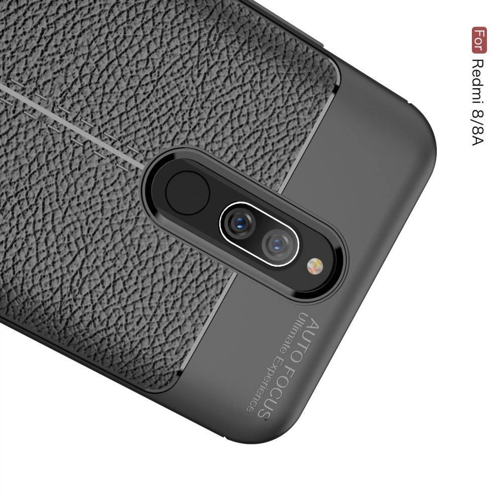 Leather Litchi силиконовый чехол накладка для Xiaomi Redmi 8A / Redmi 8 - Черный