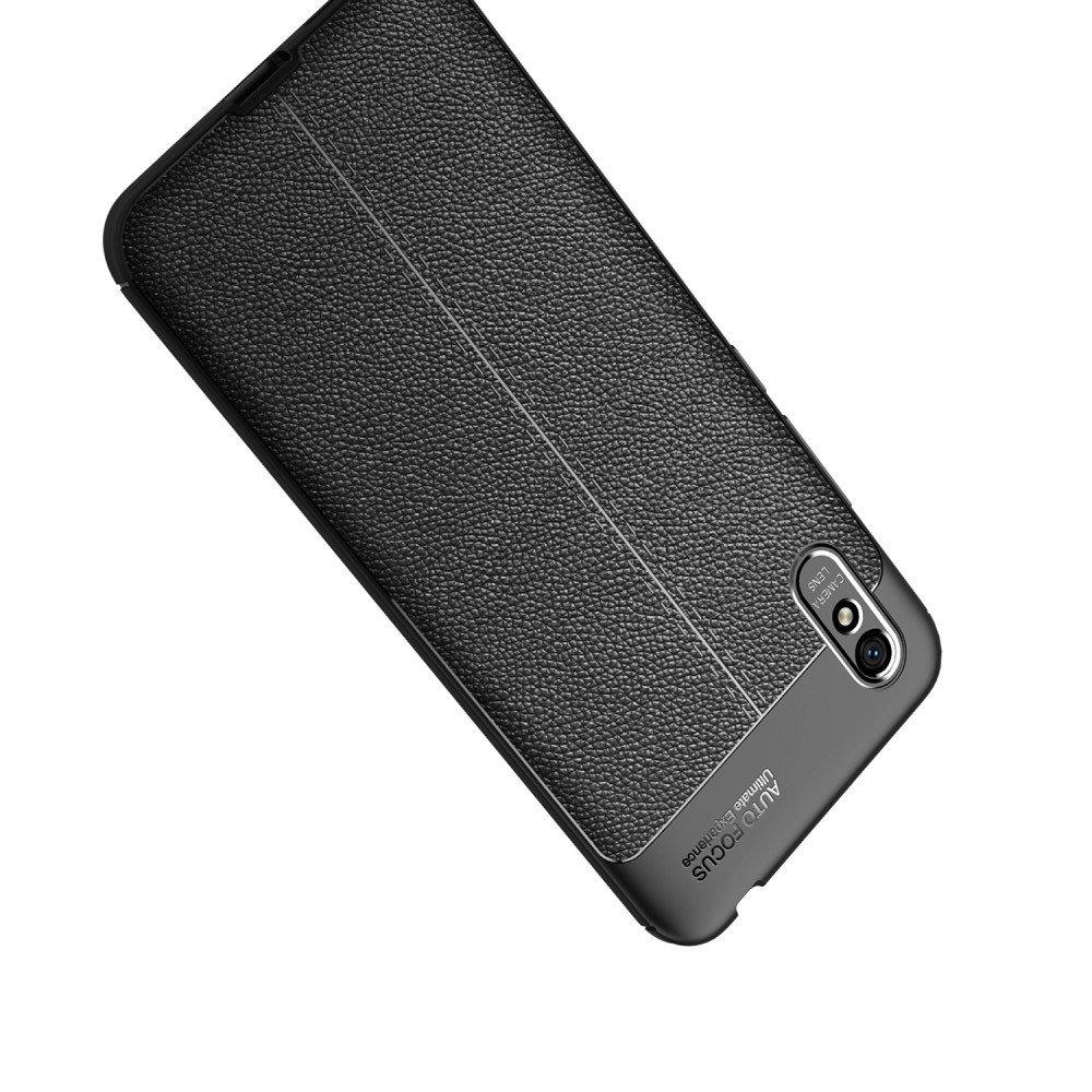 Leather Litchi силиконовый чехол накладка для Xiaomi Redmi 9A - Черный