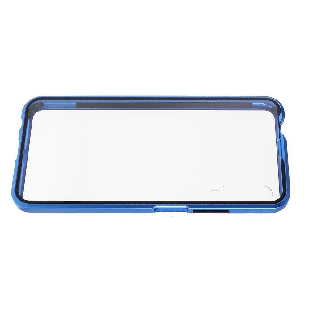Магнитный Стеклянный Чехол с Металлическим Бампером для Huawei Honor 9X / 9X Premium Синий