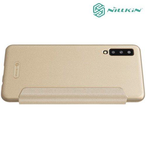 Nillkin Sparkle флип чехол книжка для Samsung Galaxy A7 2018 SM-A750F - Золотой