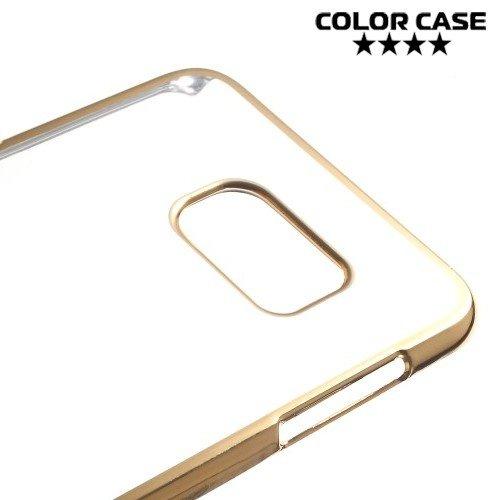 Прозрачный кейс для Samsung Galaxy S6 Edge Plus - Золотой