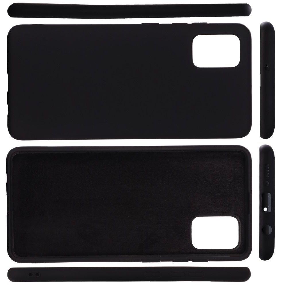 Силиконовый чехол мягкая подкладка из микрофибры для Samsung Galaxy A71 Черный