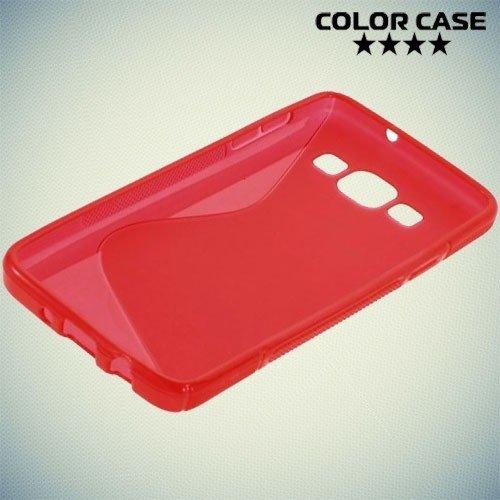 Силиконовый чехол для Samsung Galaxy A3 - красный S-образный