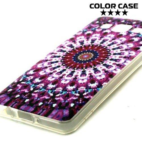 Силиконовый чехол для Samsung Galaxy A5 с орнаментом Фиолетовые узоры