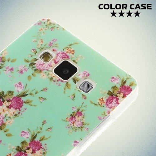 Силиконовый чехол для Samsung Galaxy A5 с орнаментом Розы на бирюзовом