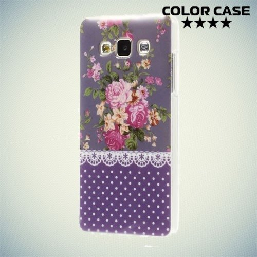 Силиконовый чехол для Samsung Galaxy A5 с орнаментом Розы на фиолетовом