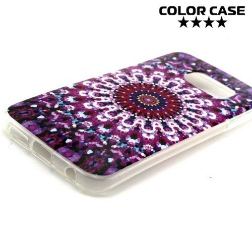 Силиконовый чехол для Samsung Galaxy S6 Edge с орнаментом Фиолетовые узоры